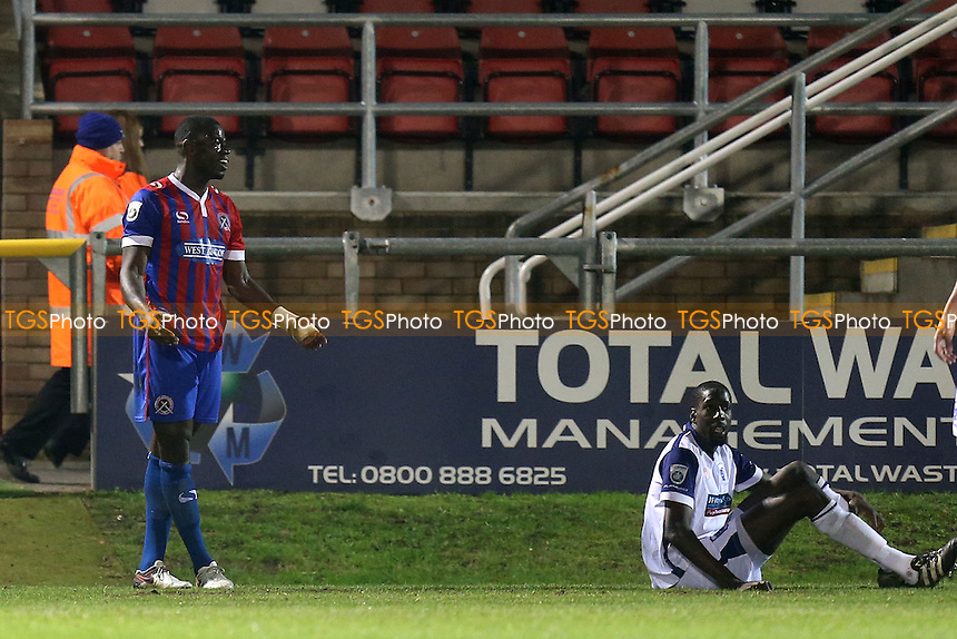 Magnus Okuonghae of Dagenham appeals his innocence after conceding a penalty during Dagenham & Redbridge vs Barrow, Vanarama National League Football at the Chigwell Construction Stadium on 26th November 2016