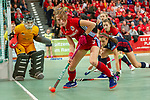 GER - Muehlheim, Germany, January 26: <br /> During the women semi-final indoor hockey match between Mannheimer HC (red) and Duesseldorfer HC (blue) on January 26, 2019 at the Final4 at the innogy Sporthalle in Muehlheim, Germany. Final score 1-5. (Photo by Dirk Markgraf / www.265-images.com) *** Local caption ***