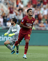 Football, Serie A: AS Roma - Sassuolo, Olympic stadium, Rome, September 15, 2019. <br /> Roma's Justin Kluivert celebrates after scoring during the Italian Serie A football match between Roma and Sassuolo at Olympic stadium in Rome, on September 15, 2019.<br /> UPDATE IMAGES PRESS/Isabella Bonotto