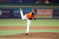 AZL Giants starting pitcher Jose Marte (73) follows through on his delivery against the AZL Cubs on September 5, 2017 at Scottsdale Stadium in Scottsdale, Arizona. AZL Cubs defeated the AZL Giants 10-4 to take a 1-0 lead in the Arizona League Championship Series. (Zachary Lucy/Four Seam Images)