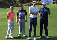 The Rest of the World Team. Emilio Grillo, Andrew Johnston, Chris Woods and Thomas Bjorn (Captain) during the Hero Skills Challenge of the Hero Indian Open at the DLF Golf and Country Club on Mondy 5th March 2018.<br /> Picture:  Thos Caffrey / www.golffile.ie<br /> <br /> All photo usage must carry mandatory copyright credit (&copy; Golffile | Thos Caffrey)