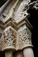 Detail of capitals in the cloister of Monestir de Poblet, 1151, Vimbodi, Catalonia, Spain, pictured on May 20, 2006, in the afternoon. The Monastery of Poblet belongs to the Cistercian Order and was founded by French monks. Originally, Cistercian architecture, like the rules of the order, was frugal. But continuous additions  including late Gothic and Baroque, eventually made Poblet one of the largest monasteries in Spain which was later used as a fortress and royal palace. It was closed in 1835 by the Spanish State but refounded in 1940 by Italian Cistercians. It is a UNESCO World Heritage Site. Picture by Manuel Cohen.