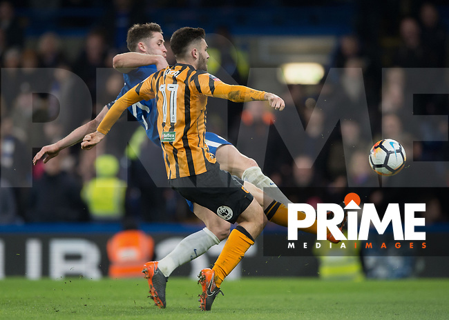 Jon Toral of Hull City battles for possession with Gary Cahill of Chelsea during the FA Cup 5th round match between Chelsea and Hull City at Stamford Bridge, London, England on 16 February 2018. Photo by Vince  Mignott / PRiME Media Images.