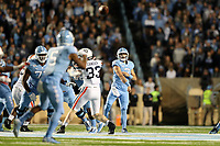 CHAPEL HILL, NC - NOVEMBER 02: Sam Howell #7 of the University of North Carolina throws the ball downfield towards Dazz Newsome #5 during a game between University of Virginia and University of North Carolina at Kenan Memorial Stadium on November 02, 2019 in Chapel Hill, North Carolina.