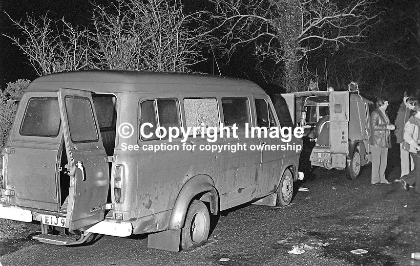 Scene of Kingsmill Massacre in which 10 Protestant textile workers were shot dead by the Republican Action Force, generally accepted as a covername for the Provisional IRA. 1976010011A.<br />