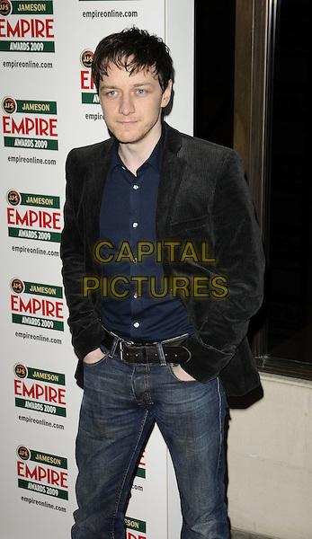 JAMES McAVOY.Jameson Empire Film Awards 2009 at the Grosvenor House Hotel, Park Lane, London, England..March 29th 2009 .half length 3/4 black suit jacket hands in pockets blue shirt jeans denim.CAP/CAN.©Can Nguyen/Capital Pictures.