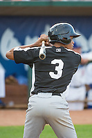 Daniel Suero (3) of the Grand Junction Rockies at bat against the Ogden Raptors in Pioneer League action at Lindquist Field on July 6, 2015 in Ogden, Utah. Ogden defeated Grand Junction 8-7. (Stephen Smith/Four Seam Images)