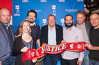The Netherlands, Amsterdam, 25 November 2016. The 29th International Documentary Film Festival Amsterdam - IDFA 2016. Premiere Hillsborough, from left; Nick Bennett, Helen Spedding, Andy R. Worboys, Phil Scraton, Daniel Gordon, Tim Atack, Andy Boag. Photo: 31pictures.nl / (c) 2016, www.31pictures.nl