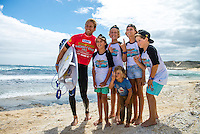 Margaret River, Western Australia (Thursday, March 21, 2013) Bede Durbidge (AUS) after winning his heat today with some of his fans.- Day Five of the Drug Aware Margaret River Pro was called on today with surf in the s' plus at the main break at Margaret River. .Rounds 3 and 4 of the Women's event were run and the completion of the Round of 96 of the men..The major upset of the event was the elimination of local WCT surfer Taj Burrow (AUS) after scoring an interference call in his his heat..Stop No. 2 of 8 on the ASP Women's World Championship Tour, will see the 2013 Drug Aware Margaret River Pro play a vital role in deciding this year's ASP Women's World Champion. The men's Division carries an ASP PRIME rating and is the first event of that calibre this year and the field of 96 of the world's best surfers are keen to set themselves up as front runners for 2014 ASP WCT qualification..Photo: joliphotos.com
