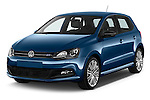 2016 Volkswagen Polo Blue-GT 5 Door Hatchback Angular Front stock photos of front three quarter view