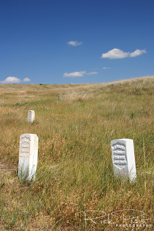 Stone markers preserve the location of fallen 7th Cavalry soldiersat the Little Bighorn Battlefield National Monument in Wyoming. The Battle of Little Bighorn took place on June 25, 1876 when Armstrong's 7th Cavalry was met by a combined force of Lakota-Northern Cheyenne and Arapaho soldiers.