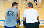 Coach Sergio Scariolo (r) informs Jaime Fernandez (l) that he will not go to the World Cup in China with Spanish National Team . August 21, 2019. (ALTERPHOTOS/Francis González)