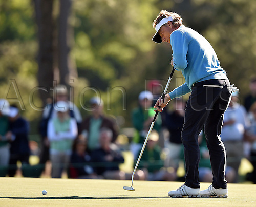09.04.2016. Augusta, GA, USA.  Bernhard Langer putts for birdie on the 17th green during the third round of the 80th Masters at the Augusta National Golf Club in Augusta, Ga., on Saturday, April 9, 2016 Langer finished at 2 under par for his round to stand in 3rd place