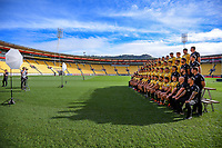 Photographer Hagen Hopkins photographs the Hurricanes team photo before the Hurricanes captain's run at Westpac Stadium in Wellington, New Zealand on Friday, 14 June 2019. Photo: Dave Lintott / lintottphoto.co.nz