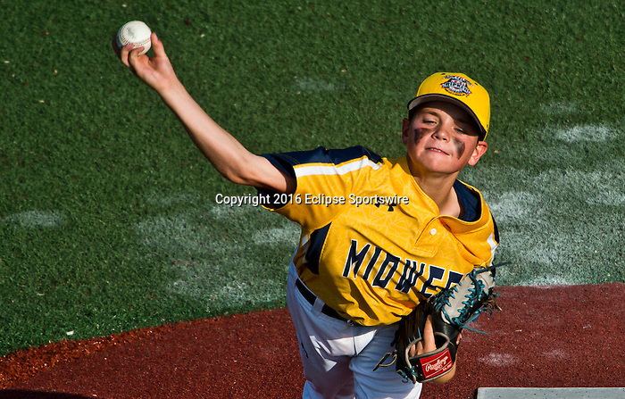 ABERDEEN, MD - AUGUST 02: Finn O'Connor #11 of Southeast Denver (CO) pitches in a game between New England and Midwest Plains during the Cal Ripken World Series at The Ripken Experience Powered by Under Armour on August 2, 2016 in Aberdeen, Maryland. (Photo by Ripken Baseball/Eclipse Sportswire/Getty Images)