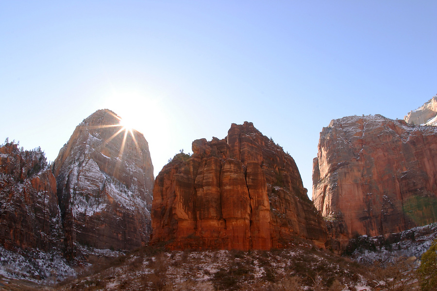 Sunrise over Angels Landing, Cable Mountain, and The Organ, Zion National Park, Washington County, UT