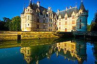 D'Azay-le-Rideau Castle    .Loire Valley, France.Castle built in Middle Ages on Indre River