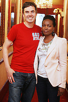 26/8/2010. NO REPRO FEE. Little Gem Opening night.  Steve K from Spin and Wanjiku Migunda are pictured at the Olympia Theatre Dublin for the opening night of Little Gem. Hilda Fay makes her return as Lorraine, Anita Reeves continues in the role of Kay, and Genevieve Hulme-Beaman takes on the role of Amber. After sell-out seasons in New York, London and Paris and a sold-out 7-week run at Ireland's National Theatre, Gúna Nua is bringing its bittersweet comedy Little Gem back to Dublin for 10 shows only at The Olympia Theatre from August 26 to September 4, 2010. Love, sex, birth, death, dildos and salsa classes: Elaine Murphy's award winning Little Gem sees three generations of Dublin women on a wild and constantly surprising journey. Picture James Horan/Collins Photos
