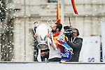 Nacho with the cup during the celebration of the victory of the Real Madrid Champions League at Plaza de Cibeles in Madrid. May 28. 2016. (ALTERPHOTOS/Borja B.Hojas)