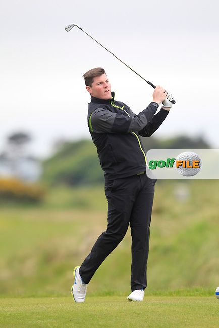 Ian Brennan (Greenore) on the 1st tee during the PGA Sprint at Seapoint on Monday 25th May 2015.<br /> Picture:  Thos Caffrey / www.golffile.ie