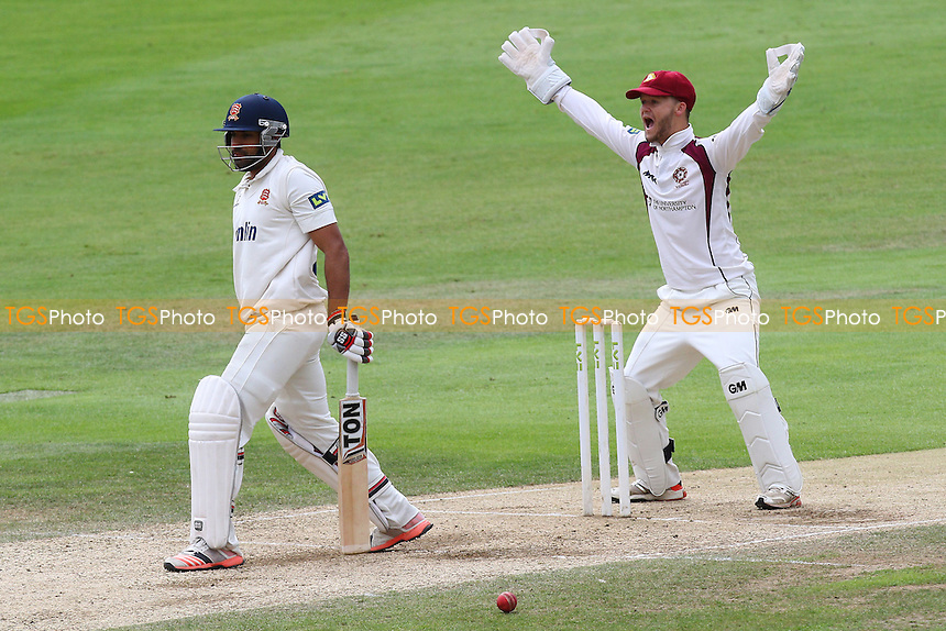 Ben Duckett of Northamptonshire CCC successfully appeals for the wicket of Ravi Bopara, trapped lbw by Rob Keogh