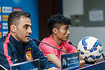 Head coach of Guangzhou Evergrande Fabio Cannavaro and captain of the team Zheng Zhi attend press conference ahead of the AFC Champions League Group H Group Stage between Guangzhou Evergrande and FC Seoul at  Guangzhou Tianhe Sport Center on 24 February 2015 in Guangzhou, China. Photo by Xaume OIleros / Power Sport Images
