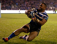 Bath Rugby's Joe Cokanasiga scores his sides first try<br /> <br /> Photographer Bob Bradford/CameraSport<br /> <br /> Gallagher Premiership Round 9 - Bath Rugby v Sale Sharks - Sunday 2nd December 2018 - The Recreation Ground - Bath<br /> <br /> World Copyright © 2018 CameraSport. All rights reserved. 43 Linden Ave. Countesthorpe. Leicester. England. LE8 5PG - Tel: +44 (0) 116 277 4147 - admin@camerasport.com - www.camerasport.com