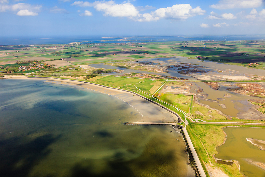 Nederland, Zeeland, Oosterschelde, 09-05-2013; inlagen ten zuiden van Serooskerke. Landinwaarts zijn polders onder water gezet in het kader van Plan Tuureluur. Links de Oosterschelde.<br /> <br /> QQQ<br /> luchtfoto (toeslag op standard tarieven);<br /> aerial photo (additional fee required);<br /> copyright foto/photo Siebe Swart.