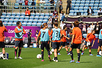 28.07.2012 Coventry, England. Japan warm up before the Olympic Football Women's Preliminary game between Japan and Sweden from the City of Coventry Stadium