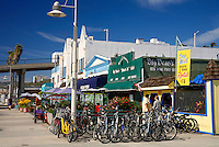 Bikes for rent at the Santa Monica Pier, Los Angeles area, California