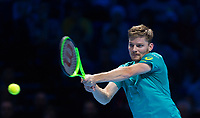 David Goffin of Belgium (7) in action against Rafael Nadal of Spain (1) during their Group Pete Sampras Match today<br /> <br /> Photographer Ashley Western/CameraSport<br /> <br /> International Tennis - Nitto ATP World Tour Finals - O2 Arena - London - Day 2  - Monday 13th November 2017<br /> <br /> World Copyright &not;&copy; 2017 CameraSport. All rights reserved. 43 Linden Ave. Countesthorpe. Leicester. England. LE8 5PG - Tel: +44 (0) 116 277 4147 - admin@camerasport.com - www.camerasport.com