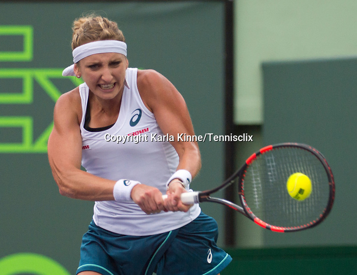 March 29 2016: Timea Bacsinszky (SUI) defeats Simone Halep (ROU) by 4-6, 6-3, 6-2, at the Miami Open being played at Crandon Park Tennis Center in Miami, Key Biscayne, Florida. ©Karla Kinne/Tennisclix/Cal Sports Media
