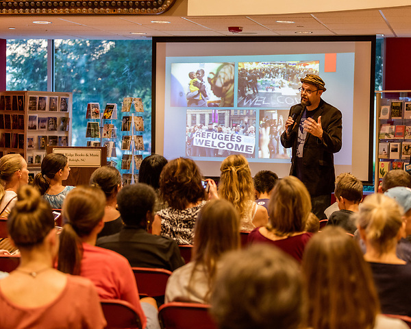 July 26, 2017. Raleigh, North Carolina.<br /> <br /> Alan Gratz discussed some the current issues that inspired the stories in his new book &quot;Refugee&quot;.<br /> <br /> Author Alan Gratz spoke about and signed his new book &quot;Refugee&quot; at Quail Ridge Books. The young adult fiction novel contrasts the stories of three refugees from different time periods, a Jewish boy in 1930's Germany , a Cuban girl in 1994 and a Syrian boy in 2015.
