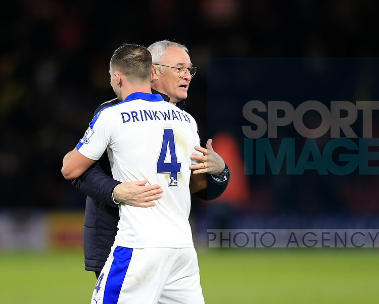 Leicester City's Claudio Ranieri celebrates at the final whistle with Danny Drinkwater<br /> <br /> - English Premier League - Watford vs Leicester City  - Vicarage Road - London - England - 5th March 2016 - Pic David Klein/Sportimage
