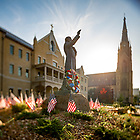 July 4, 2020; Statue of Rev. William Corby, C.S.C. decorated for Independence Day 2020. (Photo by Matt Cashore/University of Notre Dame)