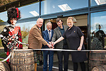 From left: Roddy Deans, Piper, Drew McKenzie Smith, Custodian of Lindores Abbey, Richard Patterson, 'The Nose', Master Distiller, Ian Rankin, author and whisky aficionado and Helen McKenzie Smith, Custodian of Lindores Abbey. Lindores Abbey Distillery in Fife, site of the first recorded whisky distillation in Scotland, opens its doors after 500 years. Drew McKenzie Smith and his wife Helen - custodians of Lindores Abbey - unveiled the &pound;7 million visitor centre and distillery today (Thursday, 5th October, 2017) in a ceremony opened by one of Fife&rsquo;s favourite sons and whisky fan, author Ian Rankin, who welcomed future generations of whisky pilgrims through the doors of the innovative new distillery. 05 Oct 2017 Lindores, Newburgh, Fife. Copyright photograph by Tina Norris. Further info: Fiona Leith, River PR, 07484 312 838 fionaleith@riverpublicrelations.co.uk <br /> Not to be archived or reproduced without prior permission and payment. Contact Tina on 07775 593 830 info@tinanorris.co.uk www.tinanorris.co.uk http://tinanorris.photoshelter.com
