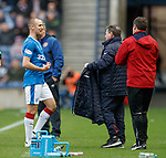 Kenny Miller shows his Ramgers badge to Graeme Murty