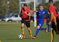 Action from the Central League Football match between Stop Out and Napier City Rovers at Hutt Park in Wellington, New Zealand on Wednesday, 25 April 2018. Photo: Dave Lintott / lintottphoto.co.nz