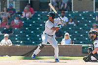 Surprise Saguaros center fielder Nick Heath (21), of the Kansas City Royals organization, at bat during an Arizona Fall League game against the Salt River Rafters at Salt River Fields at Talking Stick on October 23, 2018 in Scottsdale, Arizona. Salt River defeated Surprise 7-5 . (Zachary Lucy/Four Seam Images)