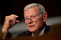 United States Senator Jim Inhofe (Republican of Oklahoma) questions Vice Admiral Michael M. Gilday, United States Navy, during his confirmation hearing to be Admiral and Chief of Naval Operations at the Department of Defense on Capitol Hill in Washington D.C., U.S. on July 31, 2019. <br /> <br /> Credit: Stefani Reynolds / CNP/AdMedia