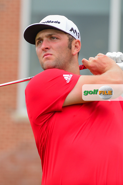 Jon Rahm (ESP) watches his tee shot on 17 during round 4 of the Dean &amp; Deluca Invitational, at The Colonial, Ft. Worth, Texas, USA. 5/28/2017.<br /> Picture: Golffile | Ken Murray<br /> <br /> <br /> All photo usage must carry mandatory copyright credit (&copy; Golffile | Ken Murray)