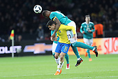 27th March 2018, Olympiastadion, Berlin, Germany; International Football Friendly, Germany versus Brazil; Jérome Boateng  (Germany) climbs over Philippe Coutinho (Brazil) to win the header