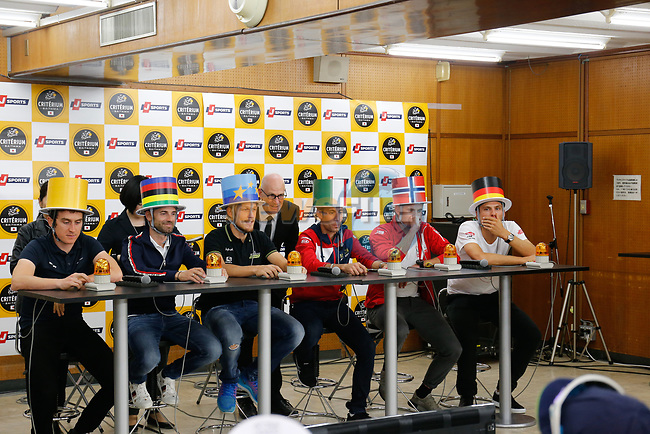 Tour de France Champion Geraint Thomas (WAL), World Champion Alejandro Valverde (ESP), European Champion Matteo Trentin (ITA), Vincenzo Nibali (ITA), Alexander Kristoff (NOR) and Marcel Kittel (GER) at the media day before the 2018 Saitama Criterium, Japan. 3rd November 2018.<br /> Picture: ASO/Yuzuru Sunada | Cyclefile<br /> <br /> <br /> All photos usage must carry mandatory copyright credit (&copy; Cyclefile | ASO/Yuzuru Sunada)