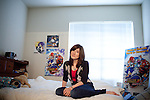 Portrait of Hillary Adams, 23, at her apartment in San Antonio, Texas on November 25, 2011. Hillary Adams recently uploaded a video to the internet of her father, Judge William Adams, beating her when she was sixteen.