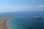.Brac Island. Bol. Beach of Zlatni Rat (gold Cape).Cruise in Croatia. Island of Dalmatia