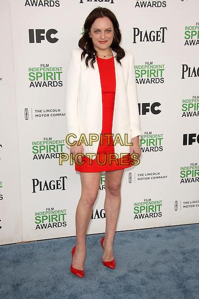 SANTA MONICA, CA - March 01: Elisabeth Moss at the 2014 Film Independent Spirit Awards Arrivals, Santa Monica Beach, Santa Monica,  March 01, 2014. Credit: Janice Ogata/MediaPunch<br /> CAP/MPI/JO<br /> &copy;JO/MPI/Capital Pictures