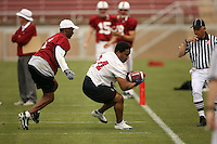 21 April 2007: Brian Allen makes a catch while defended by Willie Taggart during the Alumni's 38-33 victory over the coaching staff during a flag football exhibition at Stanford Stadium in Stanford, CA.