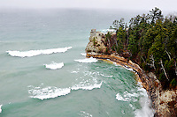 Large waves crashing into the shoreline at Miners Castle. Munising, MI - Pictured Rocks National Lakeshore