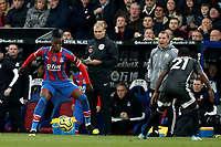 3rd November 2019; Selhurst Park, London, England; English Premier League Football, Crystal Palace versus Leicester City; Wilfried Zaha of Crystal Palace looks to take on Ricardo Pereira of Leicester City - Strictly Editorial Use Only. No use with unauthorized audio, video, data, fixture lists, club/league logos or 'live' services. Online in-match use limited to 120 images, no video emulation. No use in betting, games or single club/league/player publications