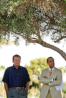 Jun. 16, 2009; Casa Grande, AZ, USA; United Football League commissioner Michael Huyghue (right) and Las Vegas head coach Jim Fassel during the groundbreaking of the Casa Grande Training Facility & Performance Institute in Casa Grande.  Mandatory Credit: Mark J. Rebilas-